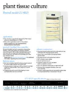 2018_Percival Scientific_model CU-41L5_Plant Tissue Culture